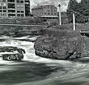 Spokane River Panorama BW