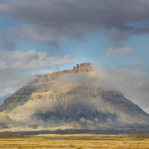 Factory Butte in the clouds