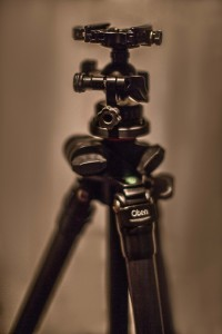 Here the swing arm is not extended and the head sits directly above the center of the tripod.