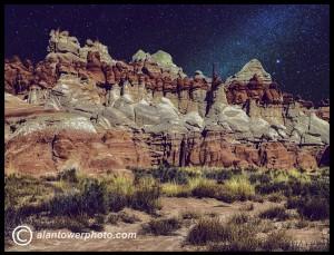 www.alantowerphoto.com Spokane Photographer Alan Tower Photo of Blue Canyon on Hopi mesa Arizona at night showing Milky Way.
