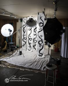 Here's a behind the scenes look at the set for the shoot.